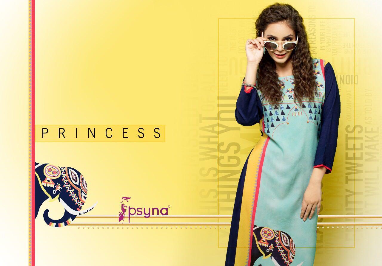Psyna Presents Fashionably Elegant Rayon Kurtis Digital Print Rate 396/-