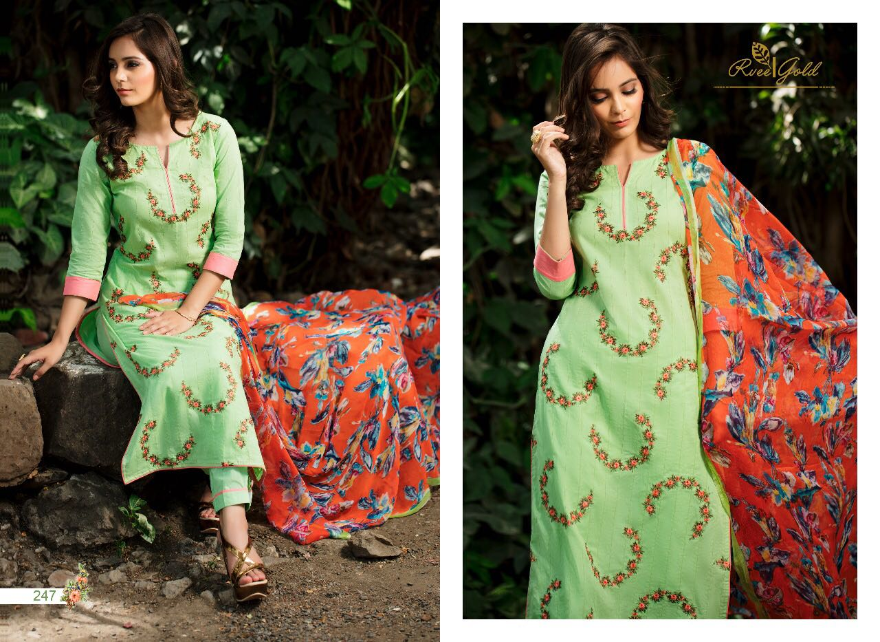 R Vee Roses Presents Cotton With Self Embroidery Rate 1400/-