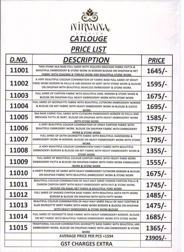 Nirvana Presents 11000 Series Rate 1594/-