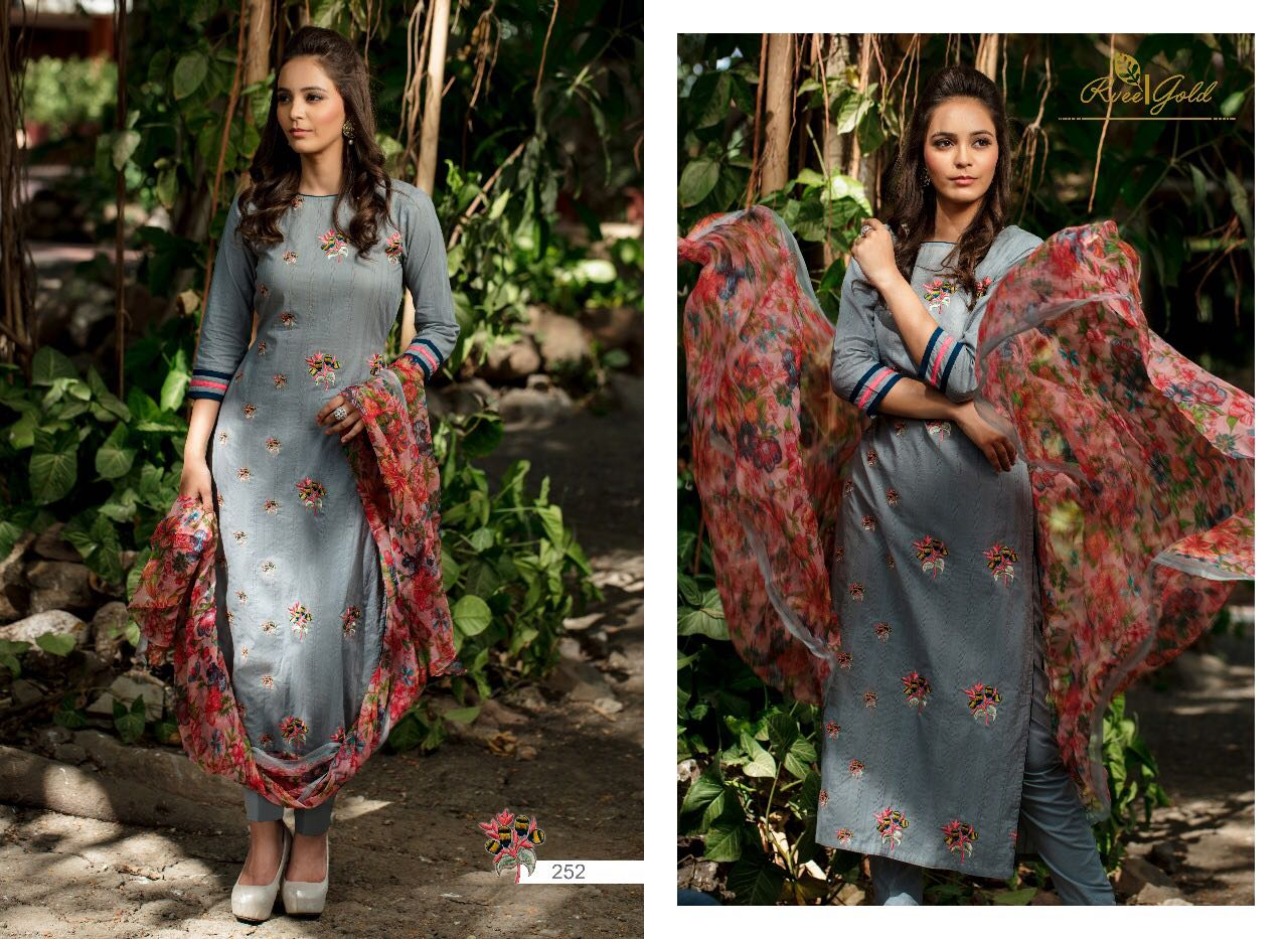 R Vee Gold Presents Cotton Embroidery Bemberg Chiffon Roses Singles Rate 1400/-