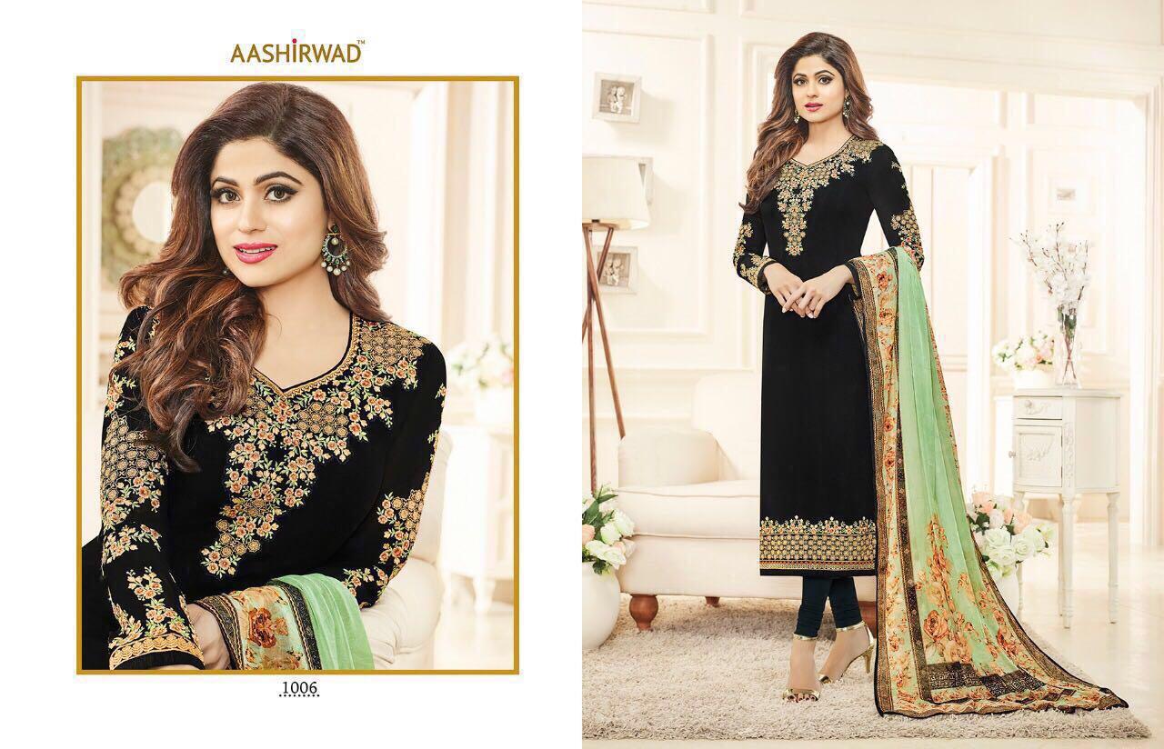Ashirwad Creation Presents Shamita Real Georgette Printed Suit Rate 1395/-
