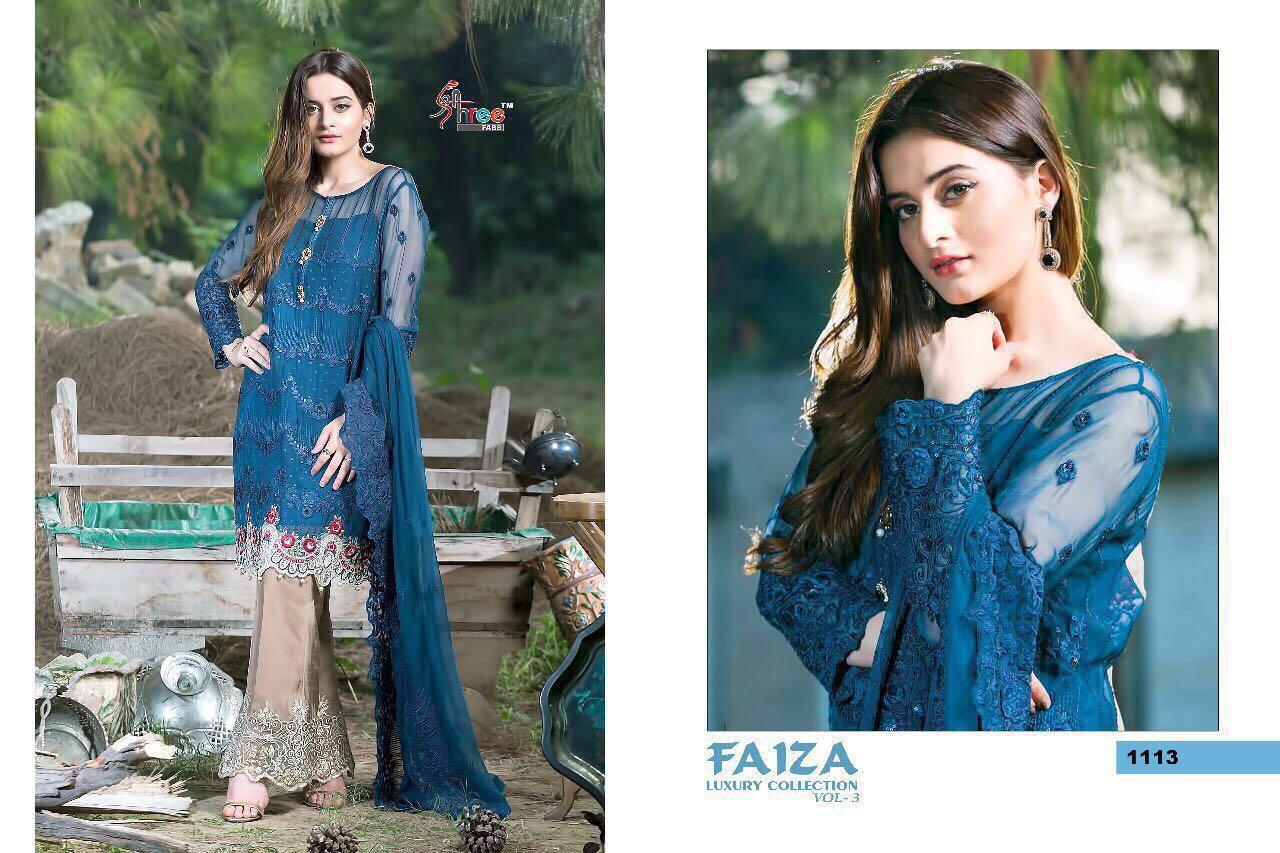 Shree Fab Presents Faiza Vol 3 Top Georgette Embroidery Rate 1199/-