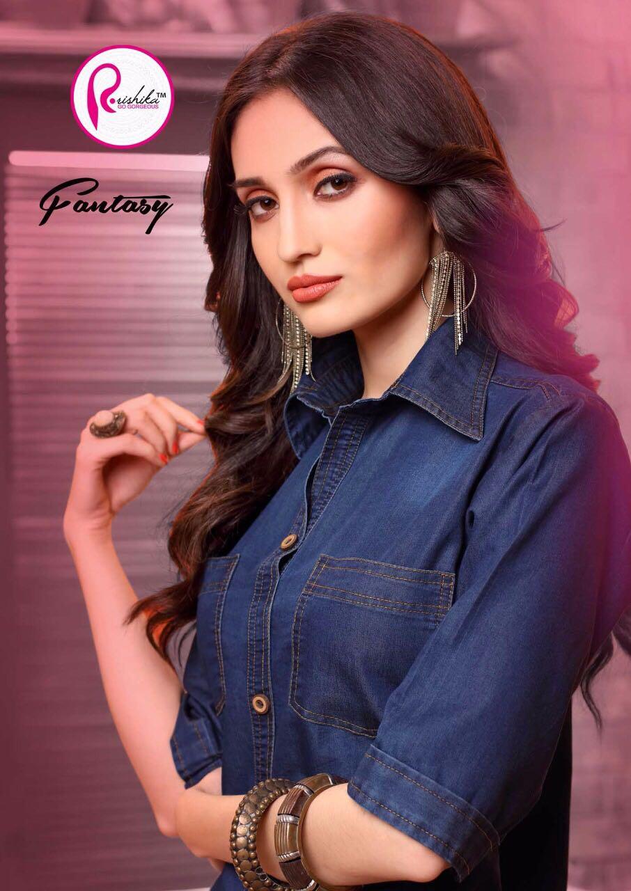Rashika Presents Fantacy Denim Partywear Kurtis Wholesale Price - 590/-