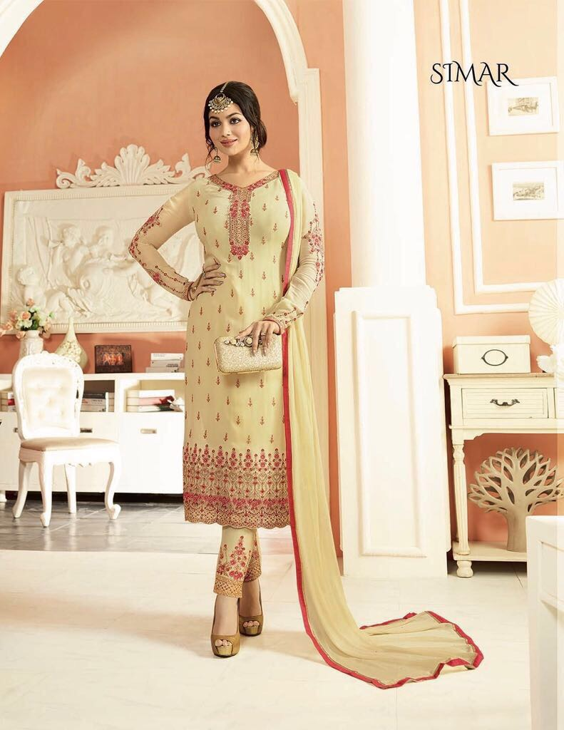 Glossy Minaz Presents Georgette With Embroidery Suits Singles Price - 1200/-