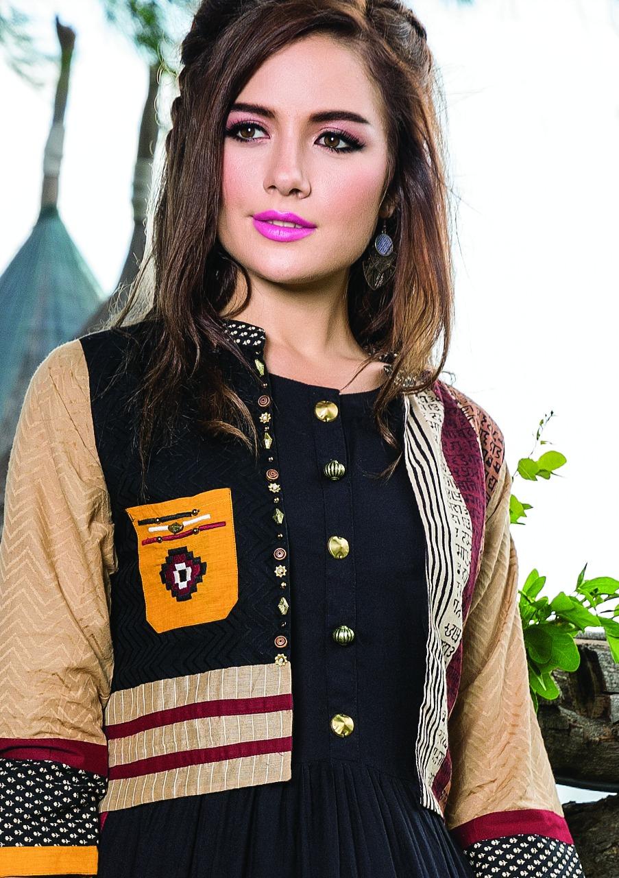 S4u Presents Hello Jacket Georette Embroidery Print Kurtis Wholesale Price - 1055/-