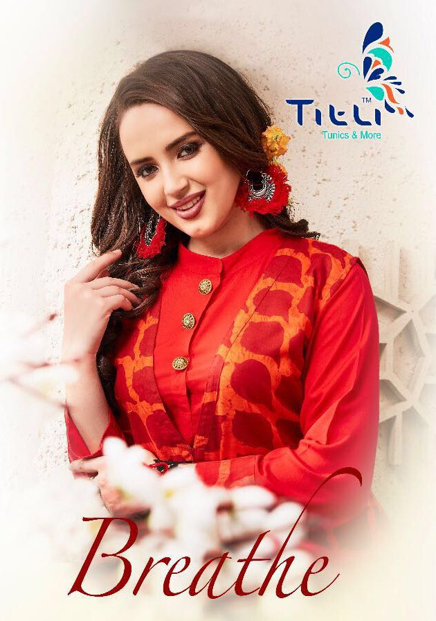 Titli Presents Breathe Designer Kurtis Heavy Rayon Print With Cotton Dyed Wholesale Price - 724/-