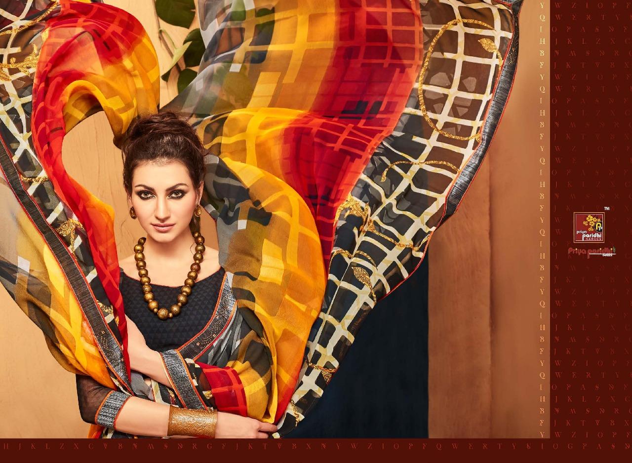 Priya Paridhi Presents Amrita Georgette With Fancy Lace Hit Designer Sarees Wholesale Price - 625