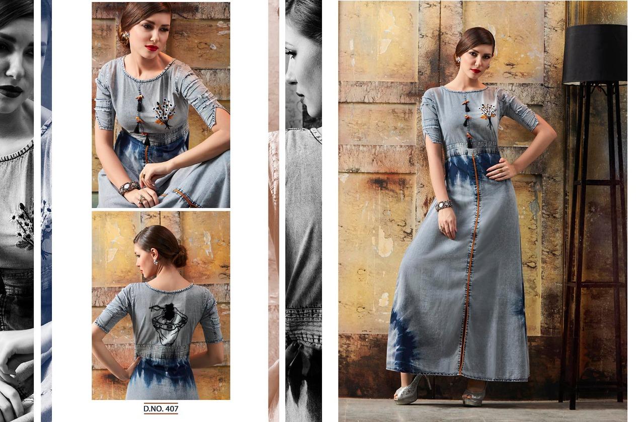 Kajree Fashion Blue Lee Designer Kurtis Wholesale Rate 699