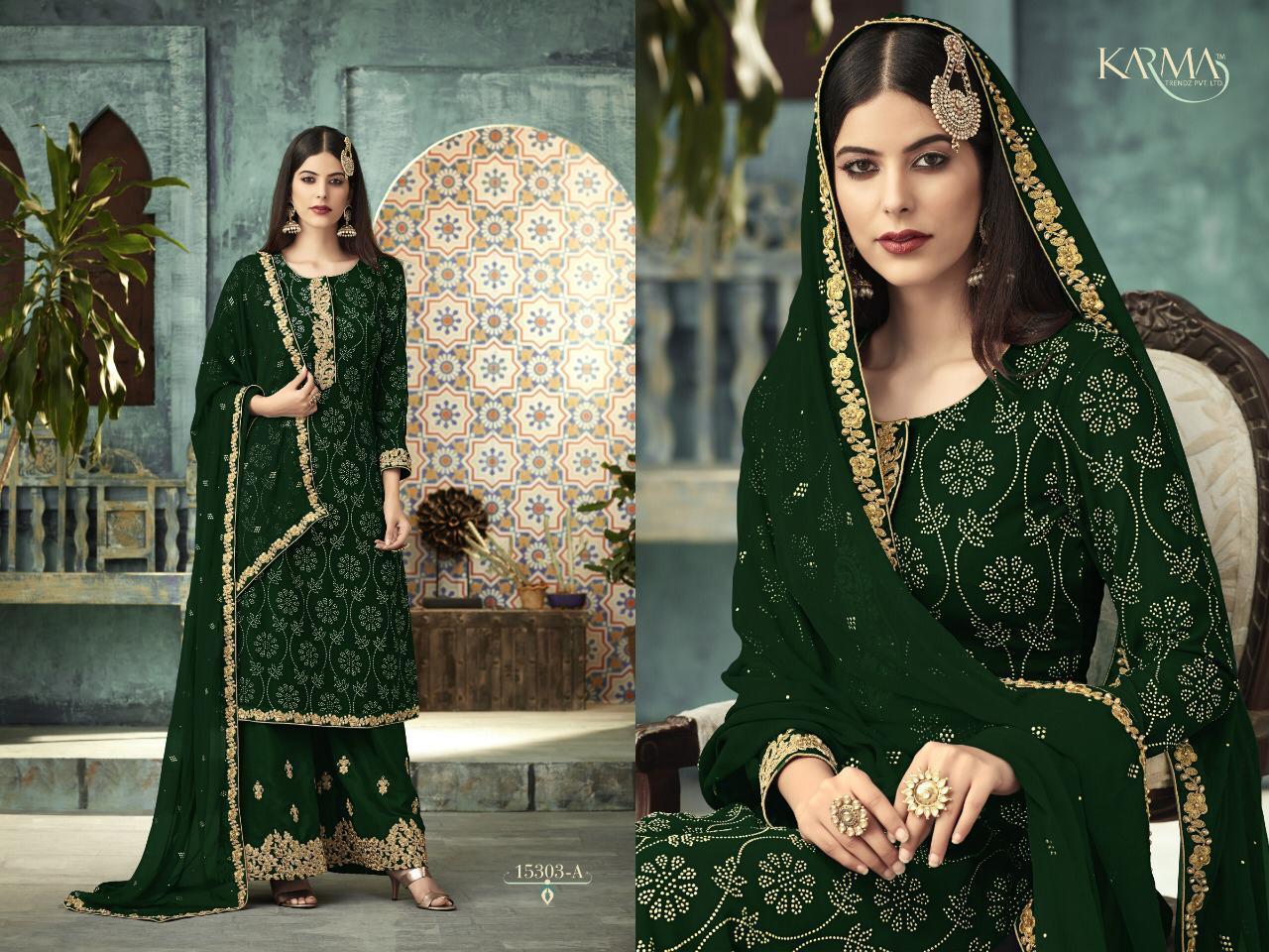 Karma Stitch Plazzo 15303  Designer Heavy Wedding Wear Suits Wholesale