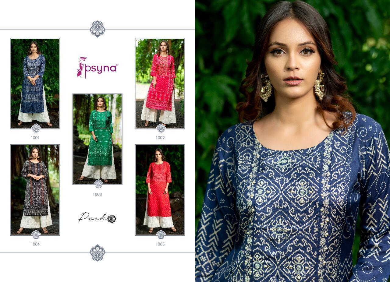 Psyna Posh Designer Handwork With Silk Bandhni Printed Kurties Wholesale
