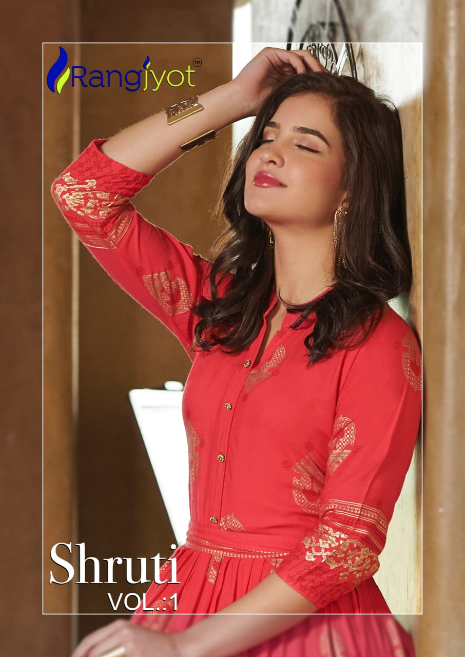 Rang Jyot Shruti Vol 1 Designer Rayon Stitch Gold Printed Gown Wholesale