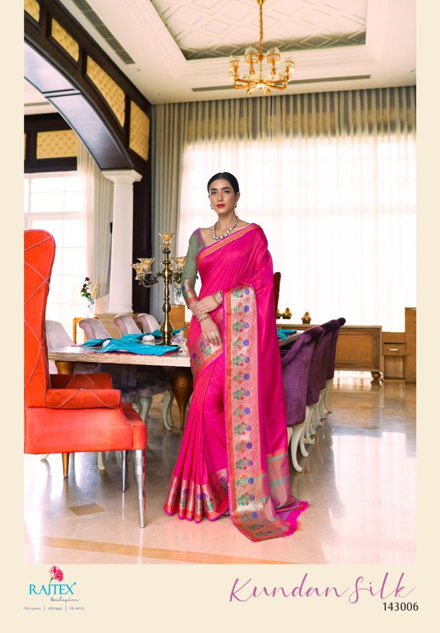 Rajtex Kundan Silk 143001 Series Designer Handloom Weaving Silk Sarees In Best Wholesale
