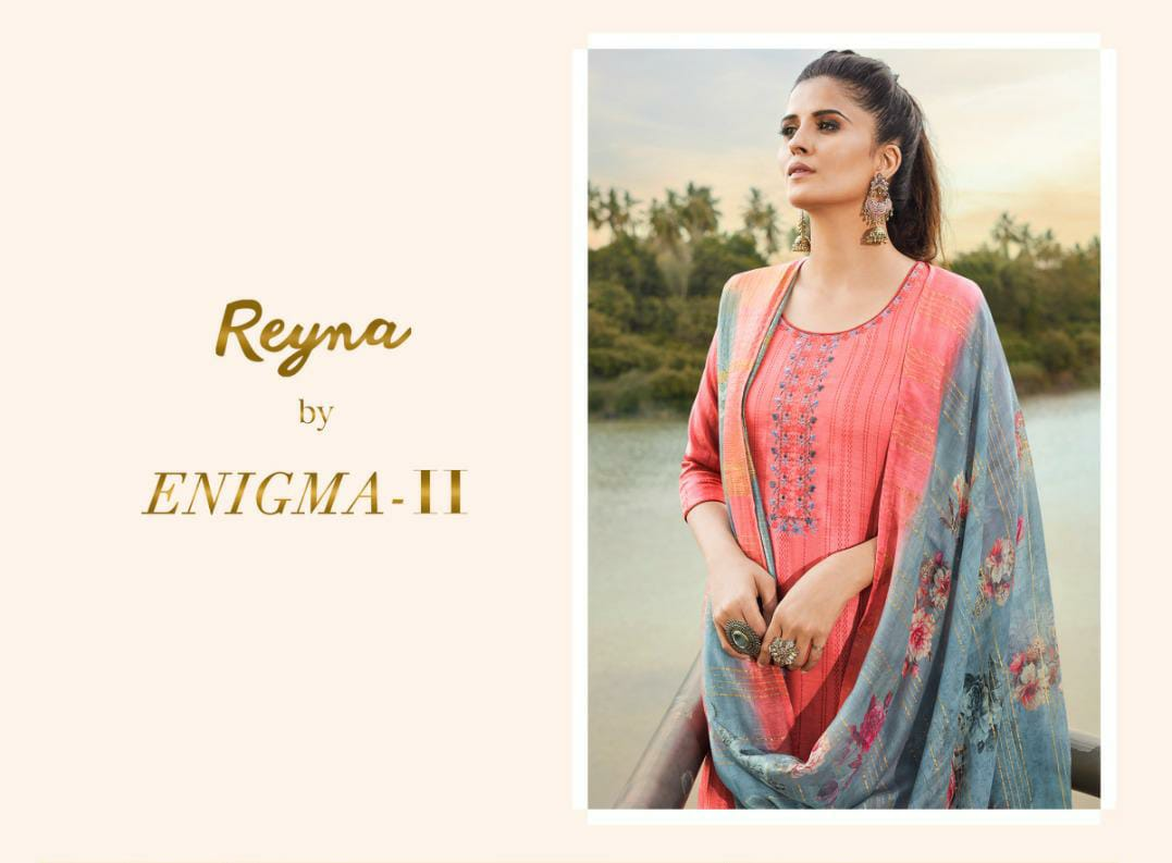 Reyna Enigma Vol 2 Designer Tusser Silk With Embroidery Work Suits Wholesale