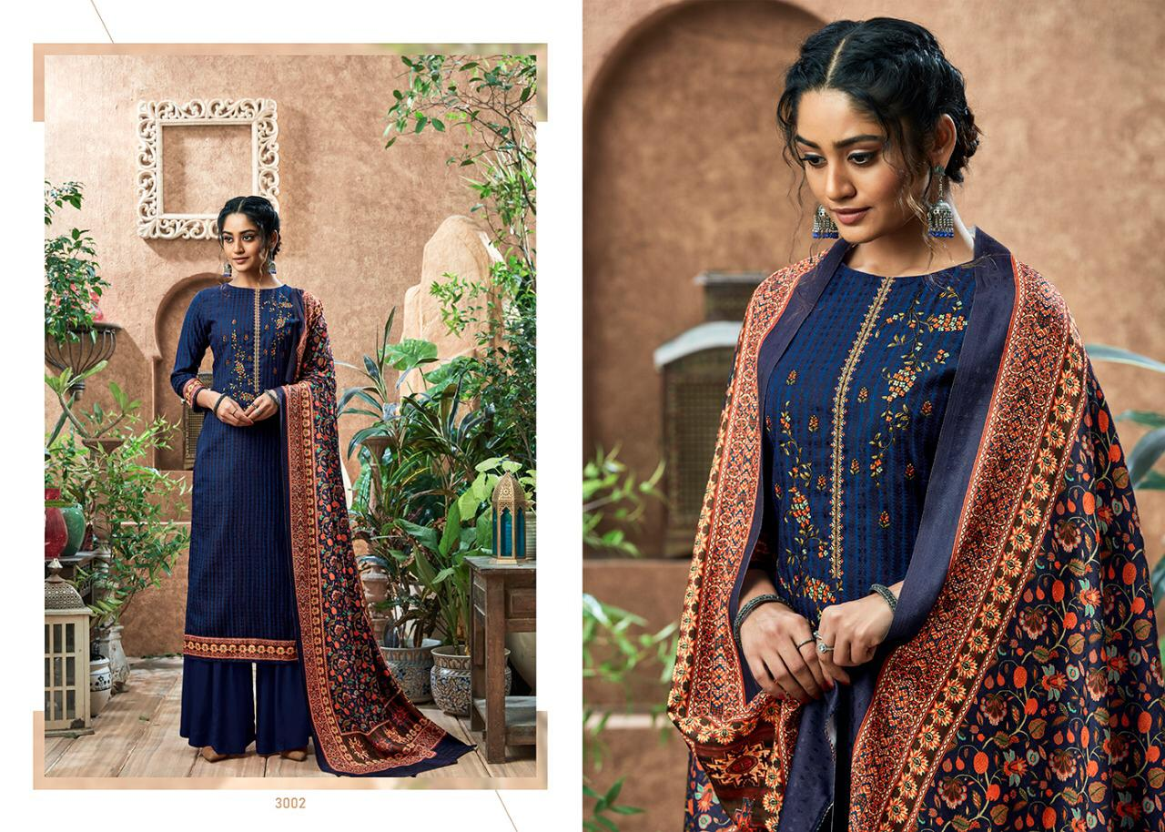 Sumyra Kashmiri Shawl Designer Pashmina Print With Self Embroidery Work With Shawl Dupatta Suits Wholesale