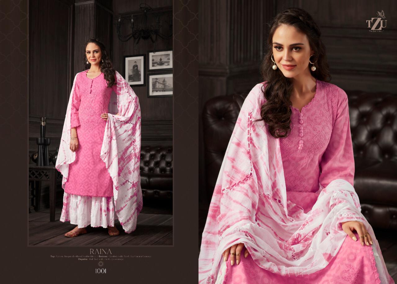 Tzu Lifestyle Raina Designer Cotton Jacquard And Cotton Mal Handwork Stitch Suits Wholesale