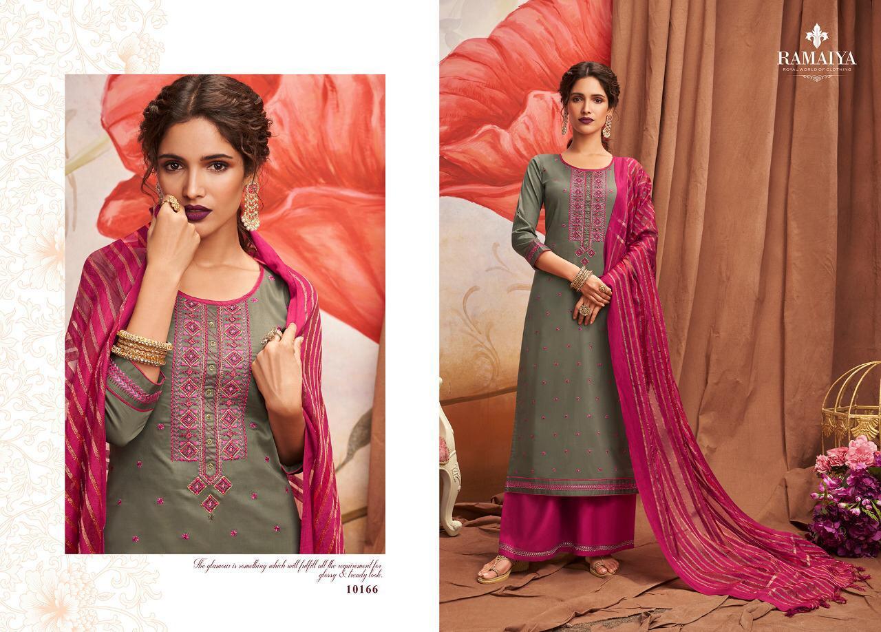 Ramaiya Shalimar Jam Silk Embroidery Work Suits In Single
