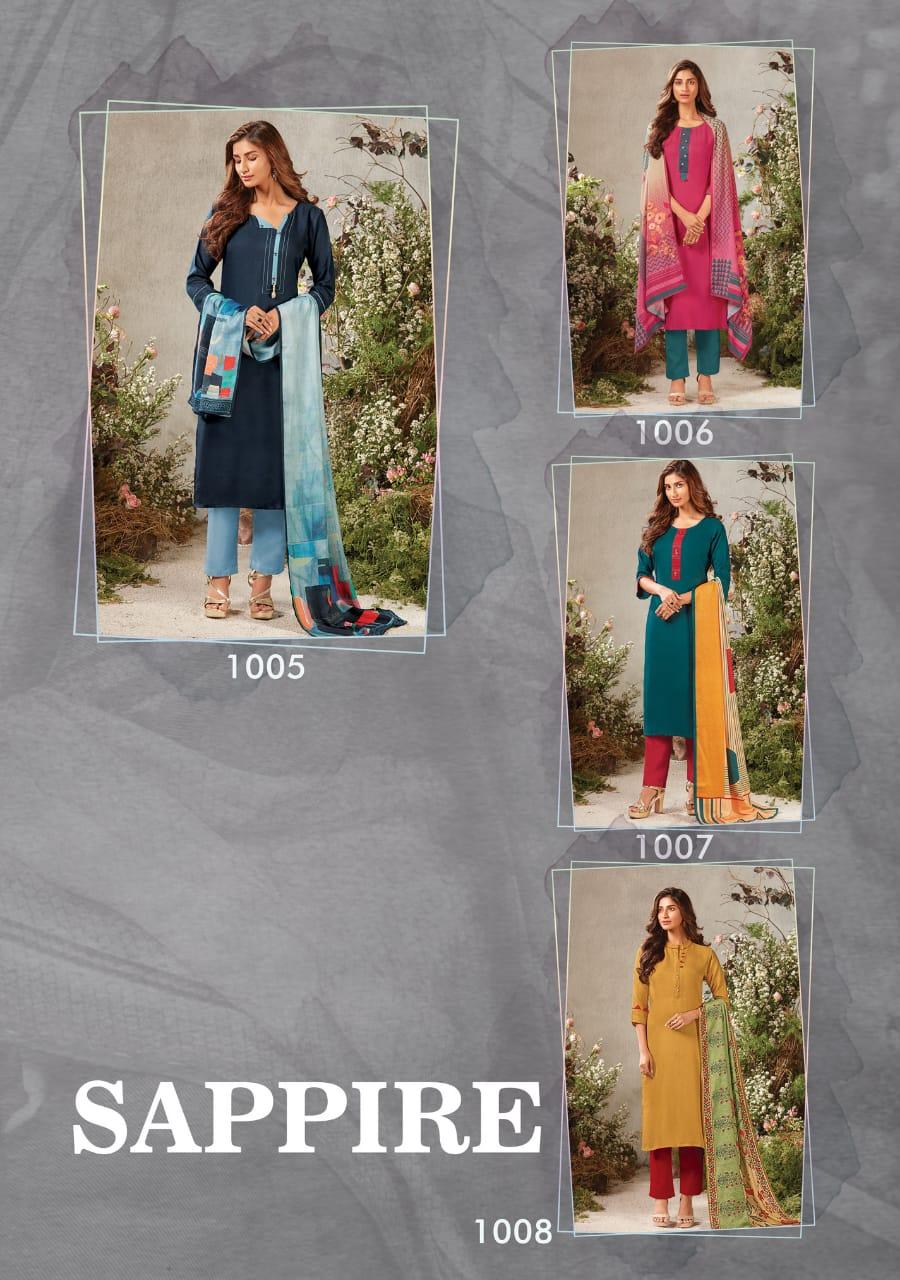 Feminista Sapphire Designer Pashmina Kurti With Pashmina Digital Printed Stole Dupatta Wholesale