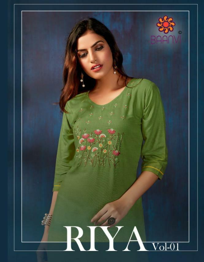 R Studio Baanvi Riya Vol 1 Designer Rayon Slub Embroidery Work Kurtis Wholesale
