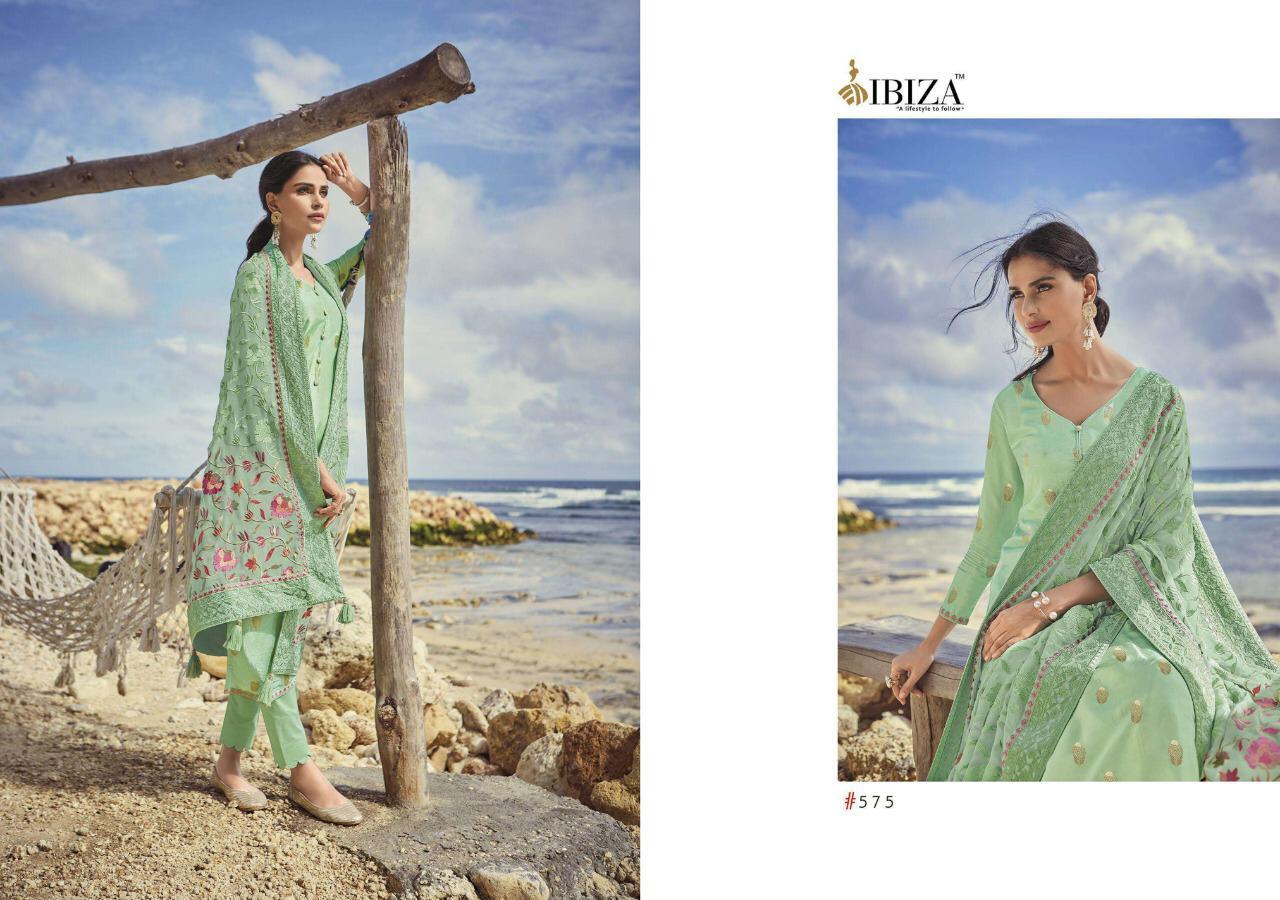 Ibiza Enara Designer Russian Silk Jacquard With Chiffon Embroidery Work Suits Wholesale