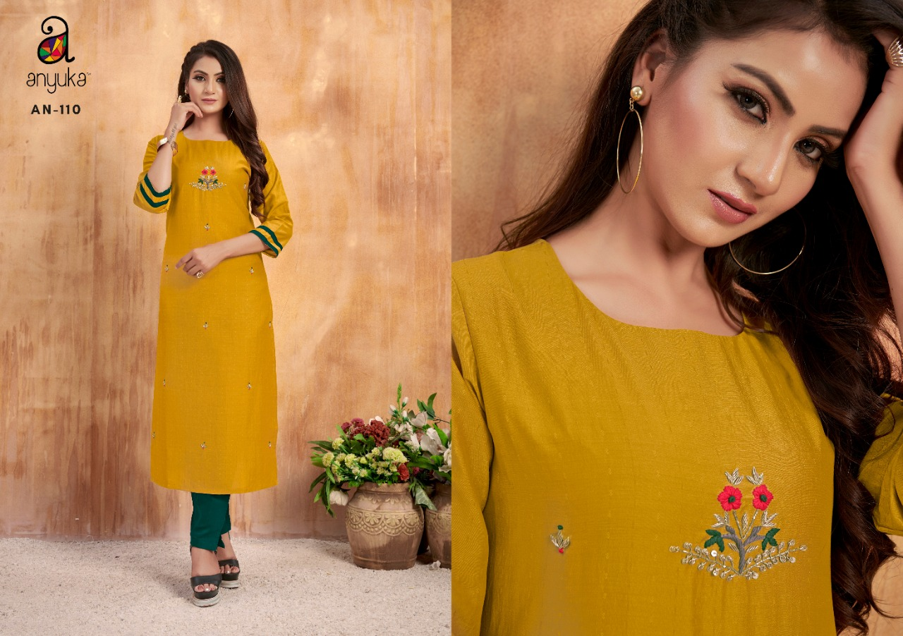 Anyuka Fiza Designer Embroidery Work Kurti With Pant Festive Wear Pair In Best Wholesale Rate