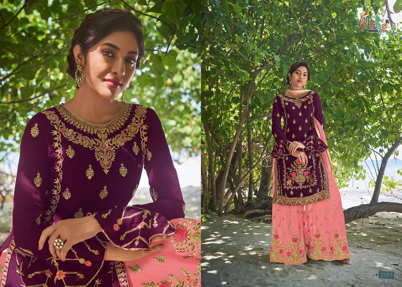 Shree Fab Shagun Designer Georgette With Heavy Embroidery Work Top With Sharara And Nazneen Dupatta Partywear Suits Wholesale