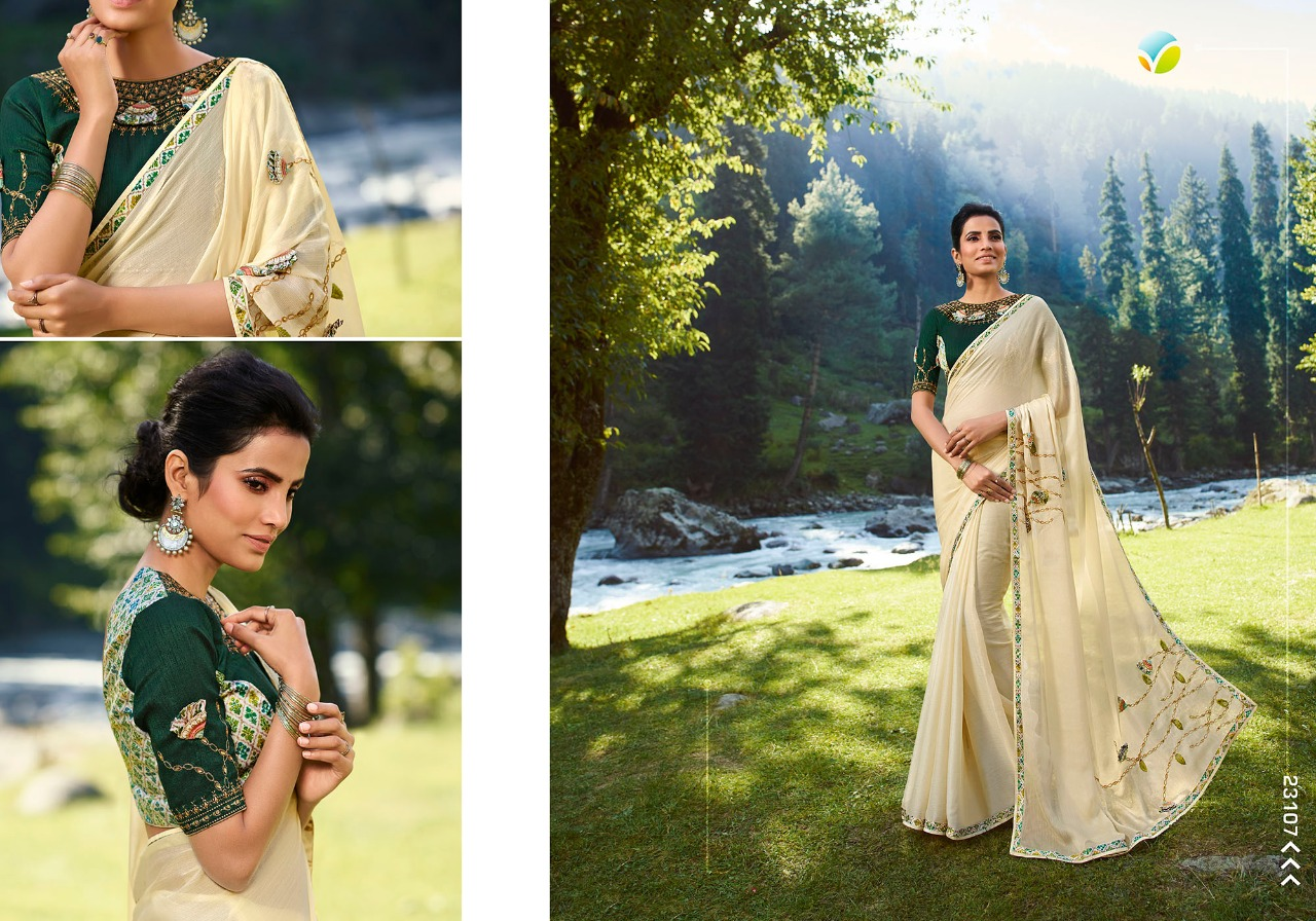 Vinay Sheesha Vibrant Designer Diamond Chiffon With Digital Print Border Sarees Wholesale
