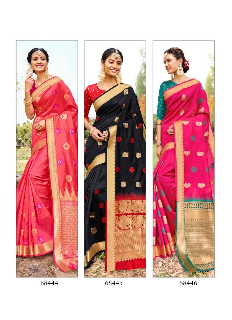 Lifestyle Rang Tarang Designer Lichi Silk Rich Pallu Sarees Wholesale
