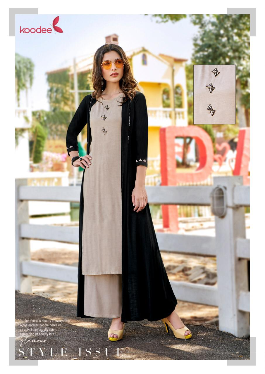 Kodee Sweetheart Vol 3 Designer Fancy Fabric Kurti With Plazzo And Shrug Pairs Wholesale