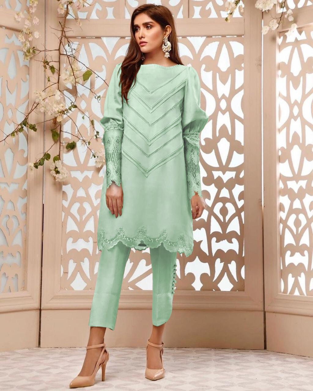 Al Meera D.1111 Designer Full Stitch Faux Puff Sleeves Top And Pant Wholesale