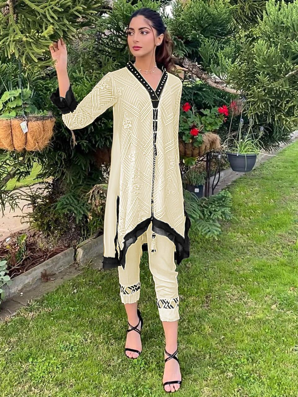 Al Meera D.1112 Designer Full Stitch Faux Puff Sleeves Top And Pant Wholesale