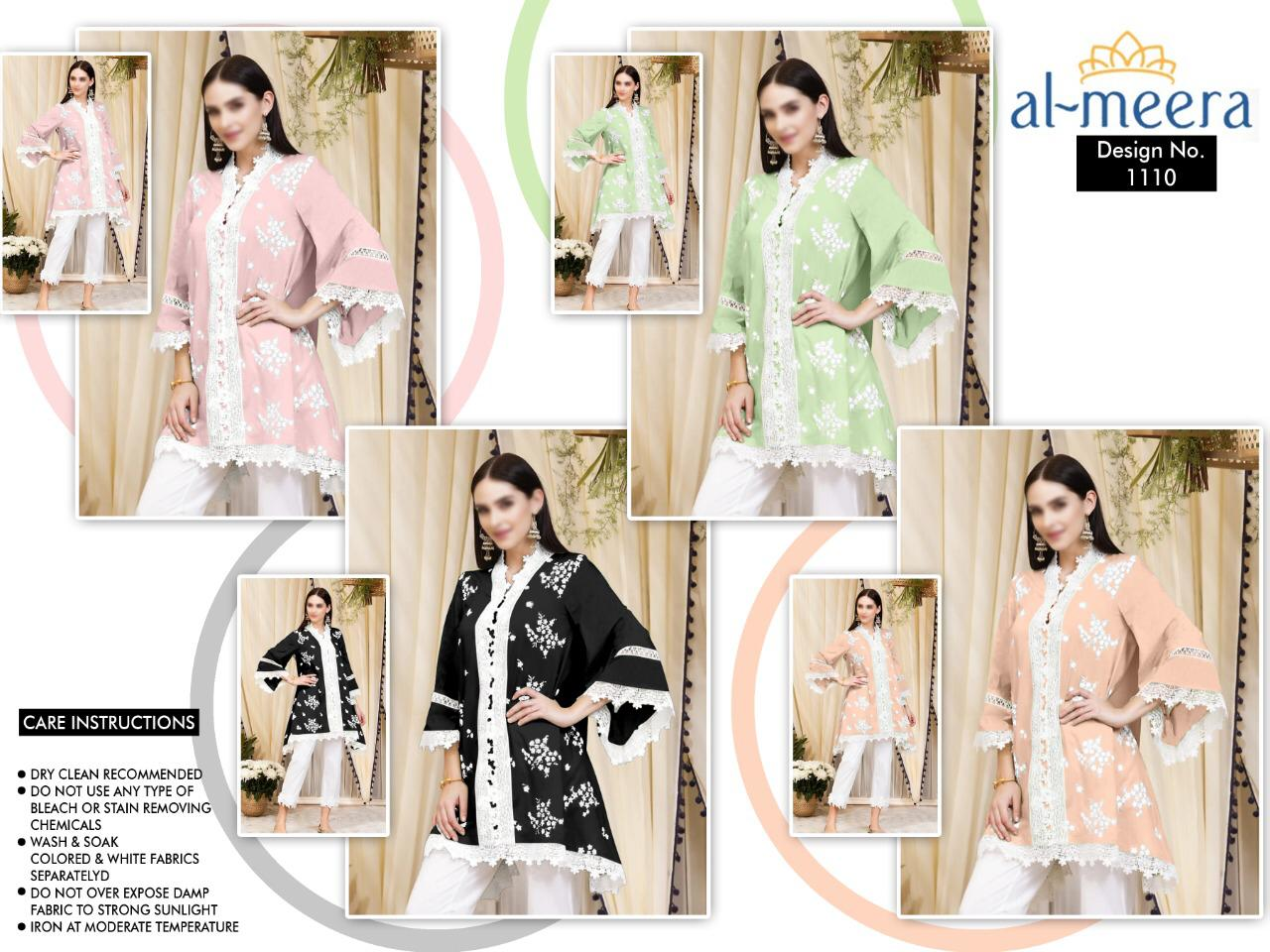 Al Meera D.1110 Luxury Pret Embroidery Work Superior Quality Top And Pant Wholesale