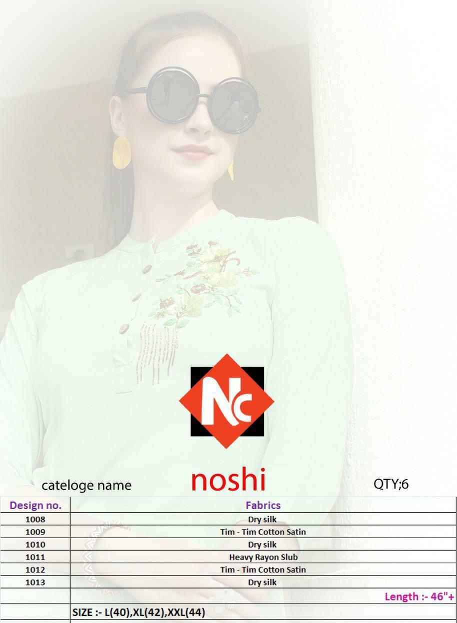 Neeti Creation Noshi Designer Dry Silk Tim Tim Cotton Satin Kurtis Wholesale