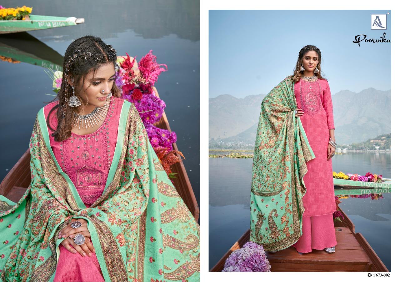 Alok Suits Poorvika Pashmina Self Print With Kashmiri Embroidery Work Suits Wholesale