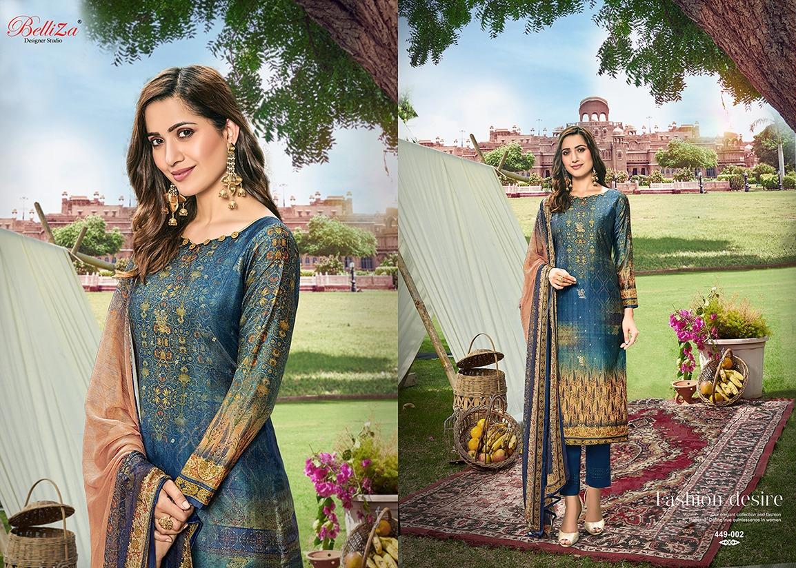 Belliza  Raas Designer Pure Upada Silk Jacquard Digital Print Suits Wholesale