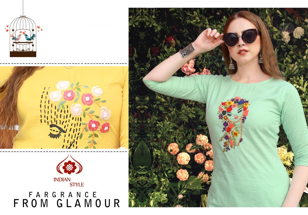 Neeti Creation Neeva Designer Fancy Fabric Embroidery Work With Hand Work Kurtis Wholesale