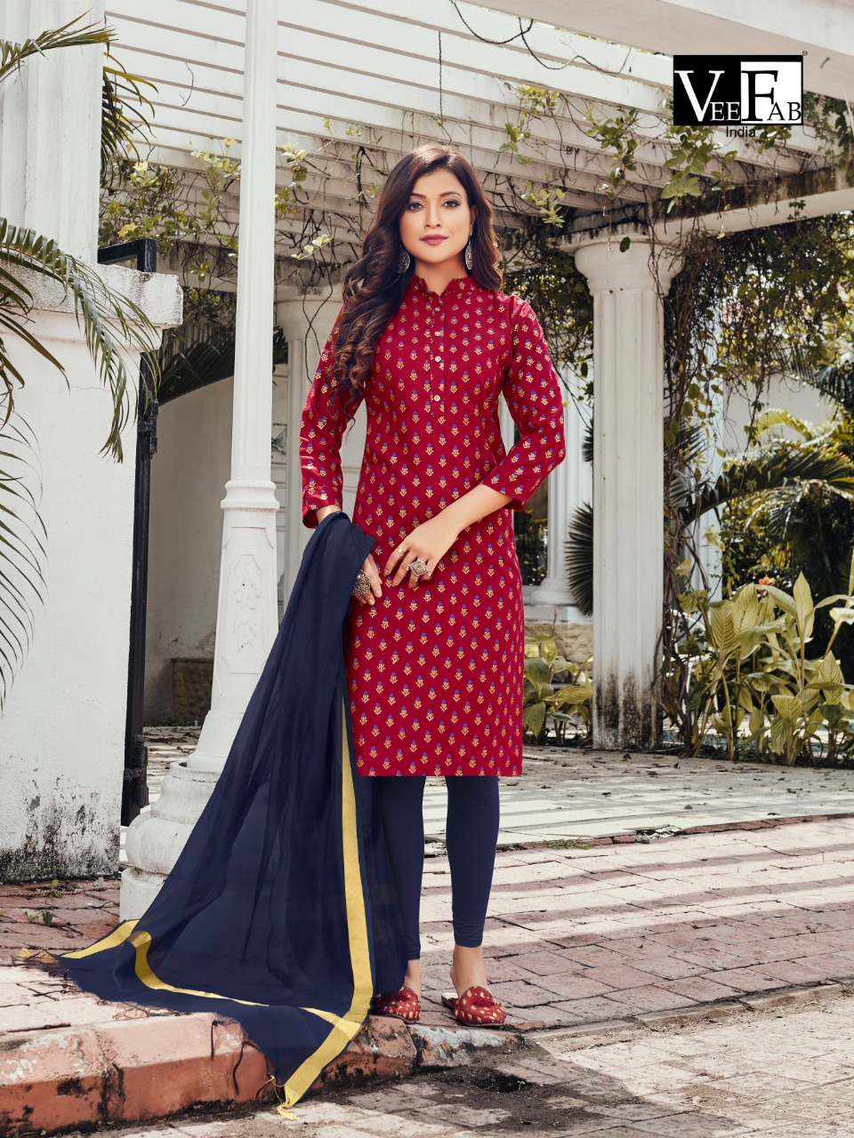 Vee Fab Saga Designer Cotton Kurti With Chanderi Dupatta In Best Wholesale Rate