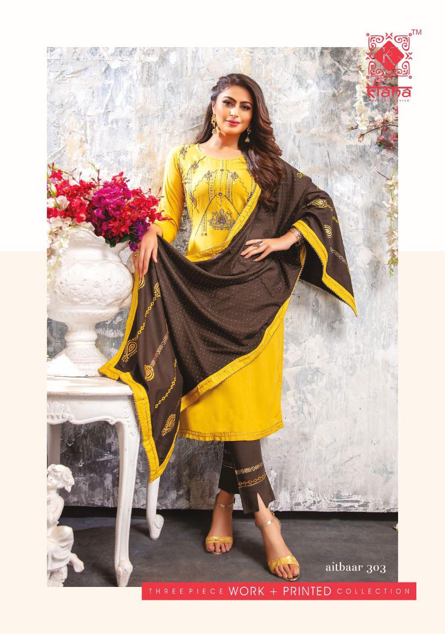 Kiana Aitbaar Vol 3 Designer Stitch Embroidery Work Kurti With Plazzo Skirt With Stylish Dupatta Wholesale