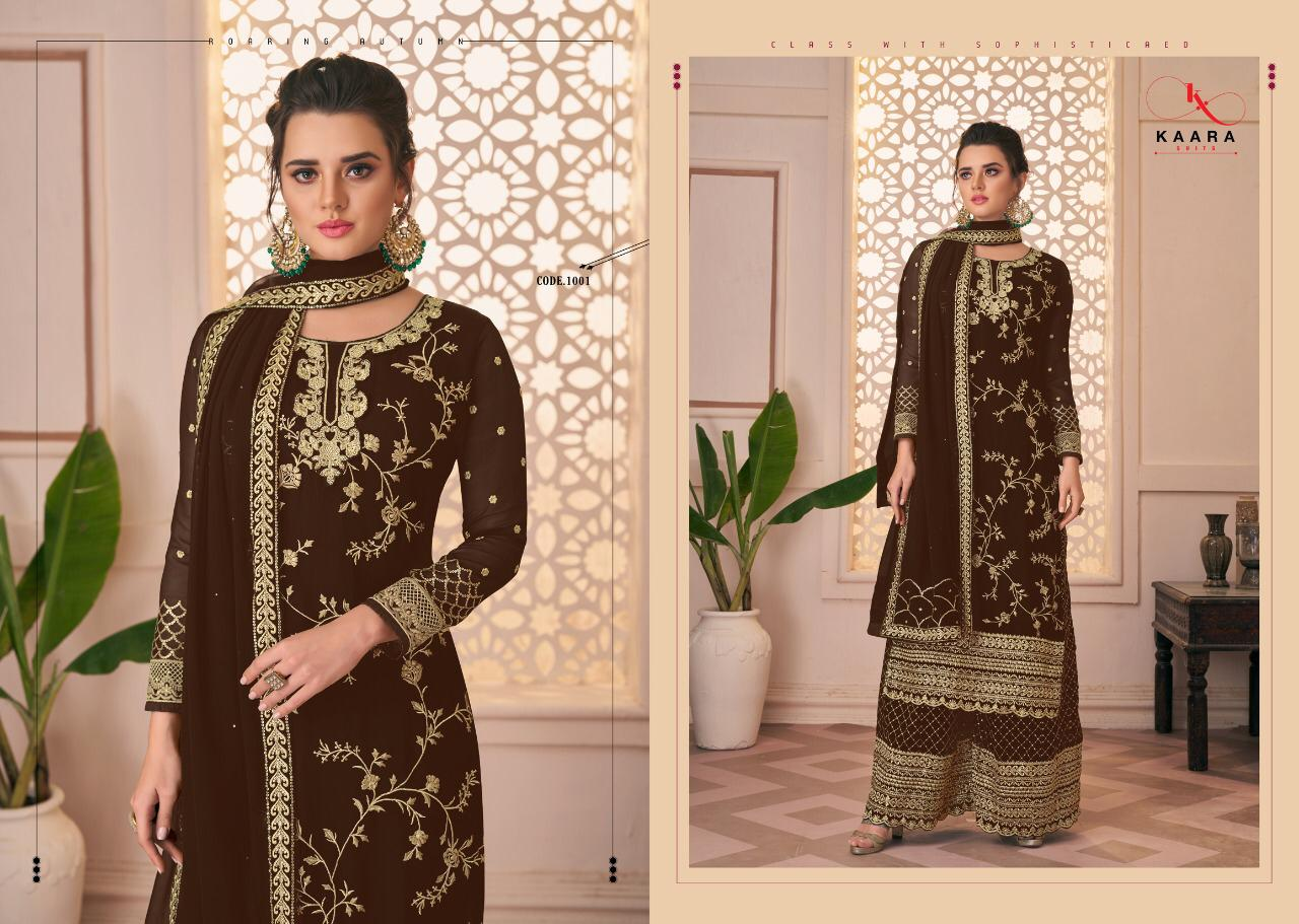 Kaara Suits Firdous Colour Designer Georgette With Heavy Embroidery Work Suits Wholesale