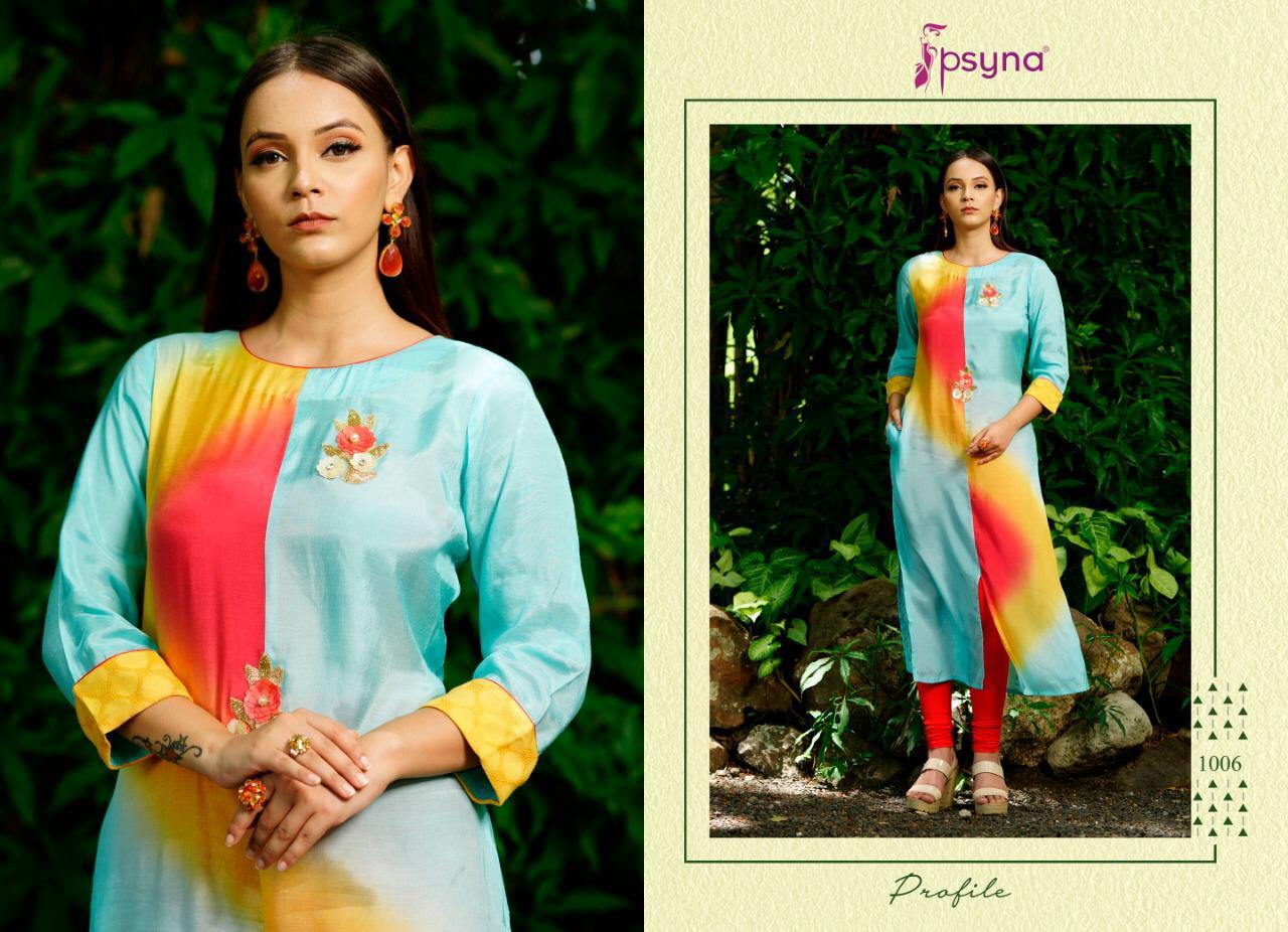Psyna Profile Designer Colorful Shading With Handwork Viscose Kurtis Wholesale