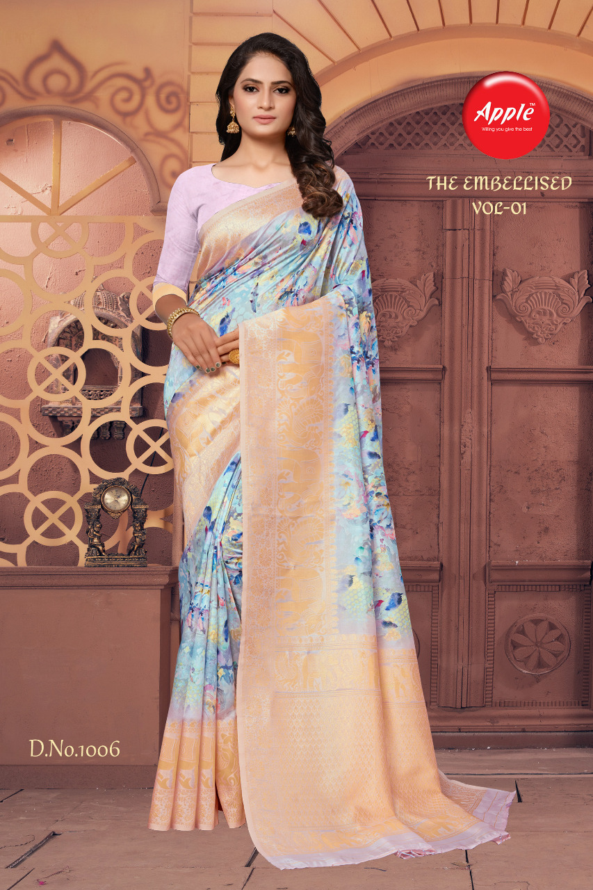 Apple Embellisd Designer Cotton Silk Jacquard Partywear Sarees Wholesale
