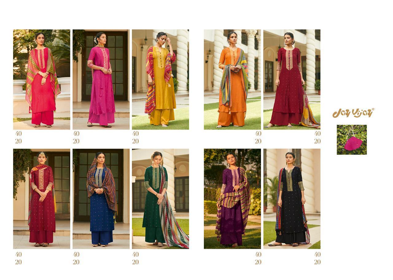 Jay Vijay Mahrush Bemberg Silk Makaish Work And Handwork Suits Wholesale