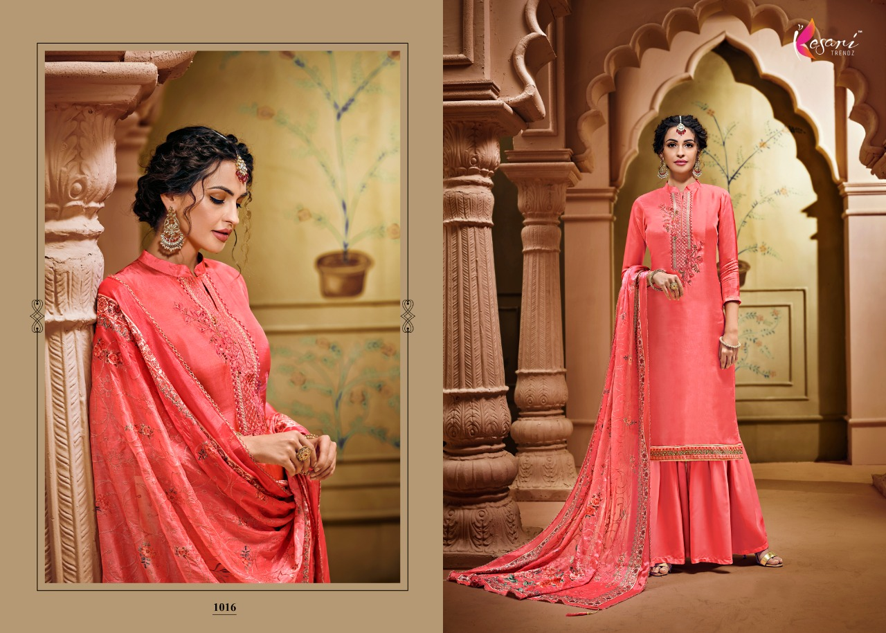Kesari Trendz Opada Vol 5 Designer Viscose Upada Silk With Embroidery Work Occasional Wear Suits Wholesale
