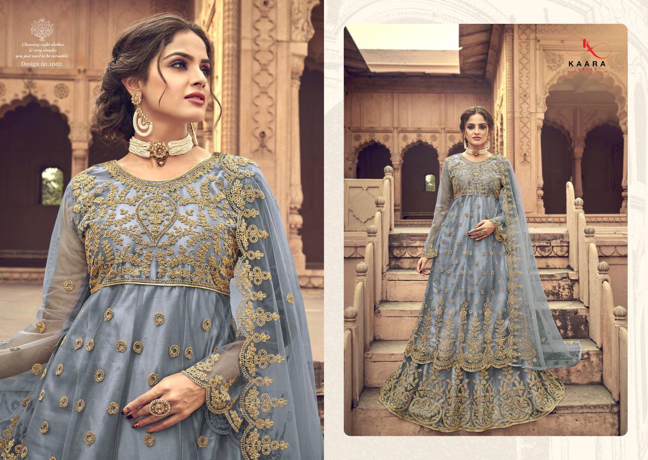 Kaara Suits Kesar Designer Heavy Net With Heavy Embroidery Work Partywear Suits Wholesale