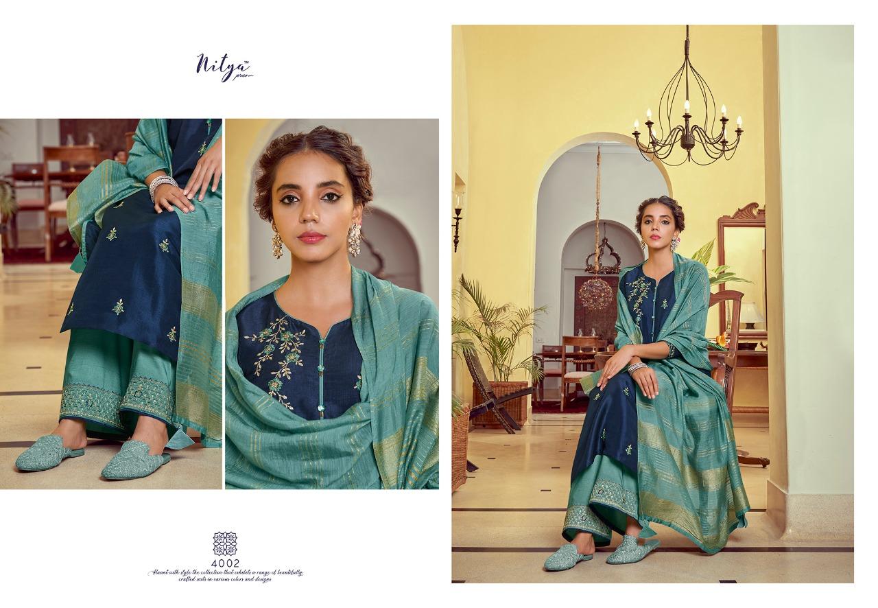 Lt Nitya Pahel Designer Silk Base Embroidery Work Suits With Chanderi Dupatta Suits Wholesale