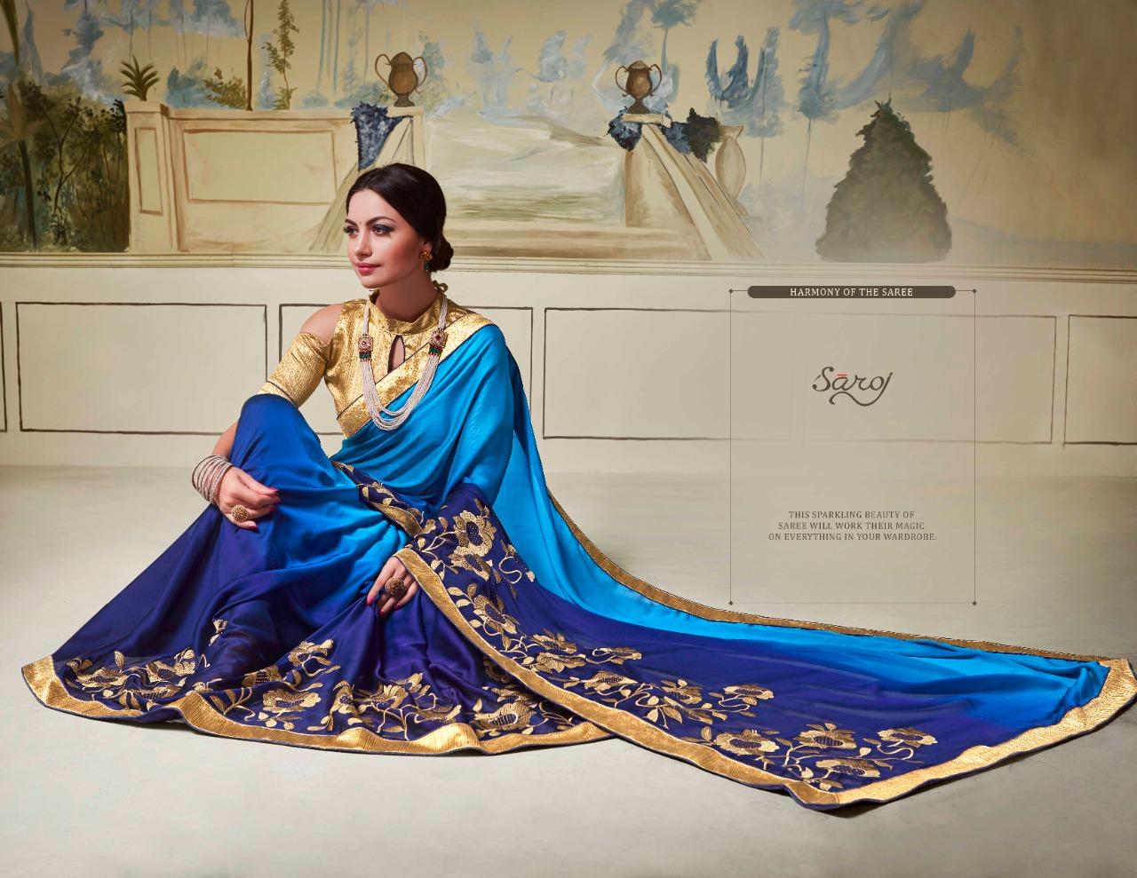 Saroj Saree Rashmi Rangoli Silk With Heavy Padding Work Sarees Wholesale