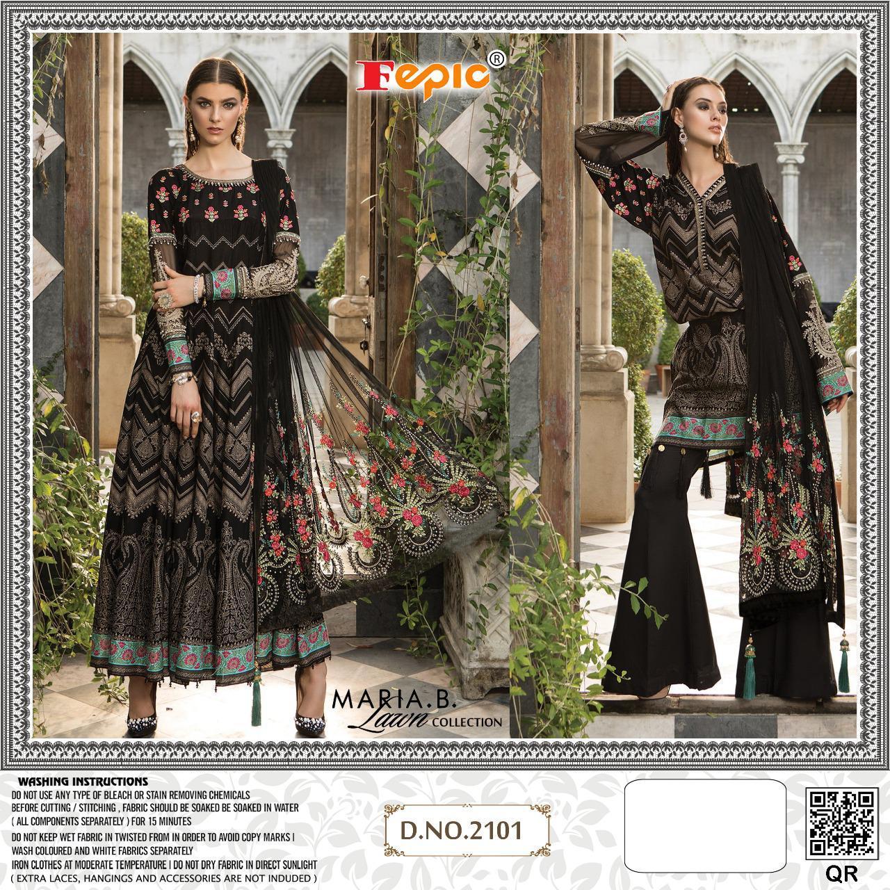 Fepic Mariya B Lawn D.2101 Designer Cotton Embroidery Work Pakistani Pettern Suit In Single