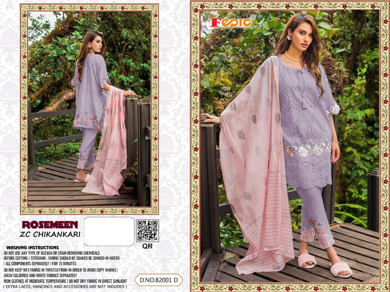Fepic Rosemeen Chikenkari Designer Pure Cotton Chikenkari Suits Wholesale