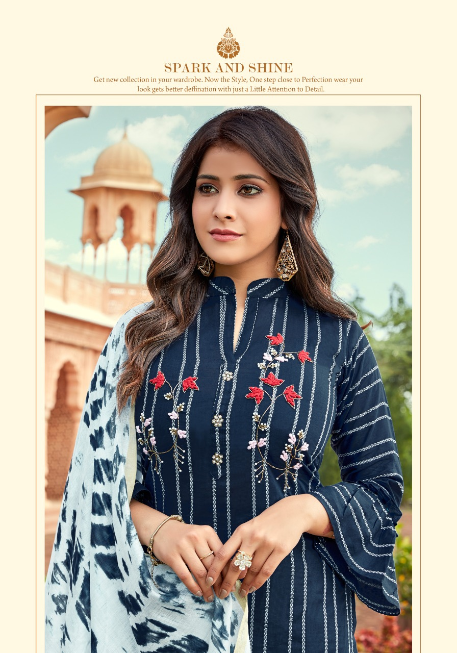 Parra Studio Rasam Designer South Cotton Kurti With Cotton Mal Sharara And Silk Jari Border Dupatta Wholesale