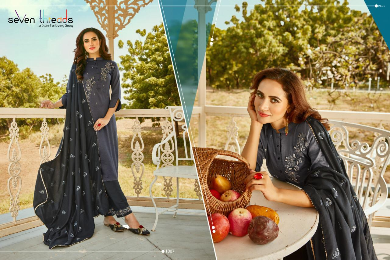 Seven Threads Shishya Bitalian Silk With Strips Kurti And Bottom With Gister Silk Dupatta Wholesale