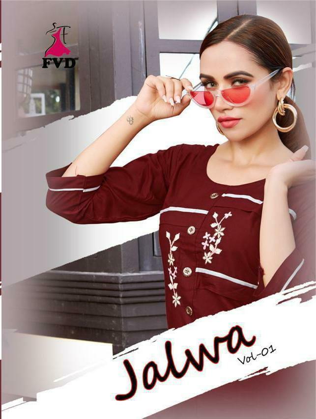 Fashionvalley Dress Jalwa Vol 1 Designer Rayon Embroidery Work Top And Plazzo Wholesale